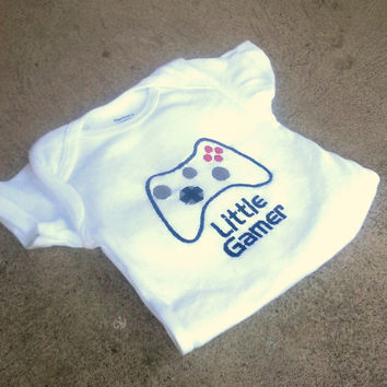 Video game controller Onesuit- little gamer baby layette - bodysuit -personalized