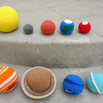 Crochet Space Solar System, Stuffed Plush Geek Toy, Made to Order
