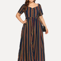 Plus Button Through Striped Dress
