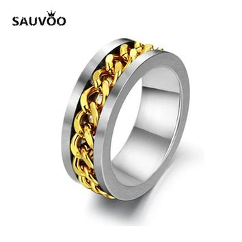 Sauvoo Fashion Spinner Black Gold Silver Color Stainless Steel Chain Rings for Men Cool Punk Metal Wide Finger Jewelry Gifts
