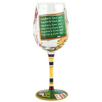 Teacher's Time Out Hand-Painted Stemmed Glass
