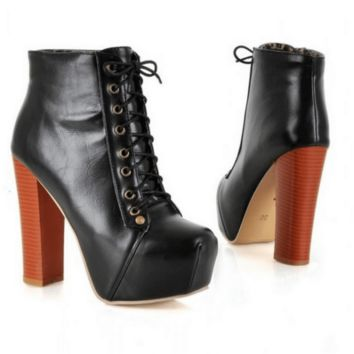 Sexy Lace Up Square High Heels Shoes