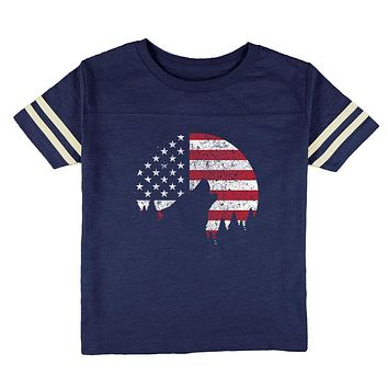 4th Of July Wolf Silhouette Flag Moon Toddler Football T Shirt