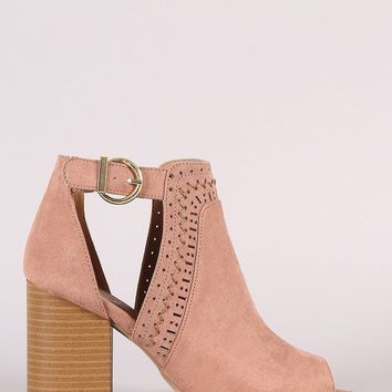 Qupid Perforated Suede Peep Toe Chunky Heeled Booties