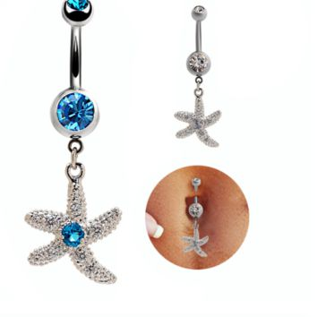 Fashion Starfish shaped zircon belly button ring antiallergic Navel Belly Ring-0428-Gifts box