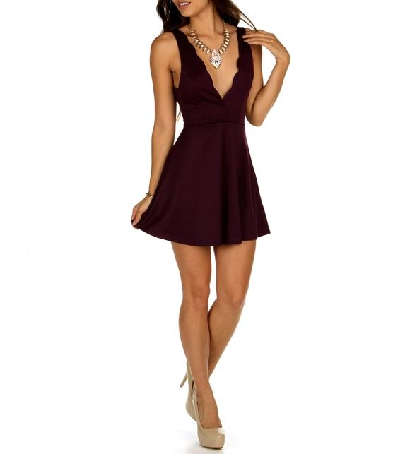 8856107c7a Sale-eggplant Scalloped Skater Dress from Windsor