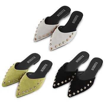 2017 New Arrived Woman Flip Flops Stylish Rivet Embellishment Pointed Toe Ladies Flat Slippers Lazy Style Summer Shoes