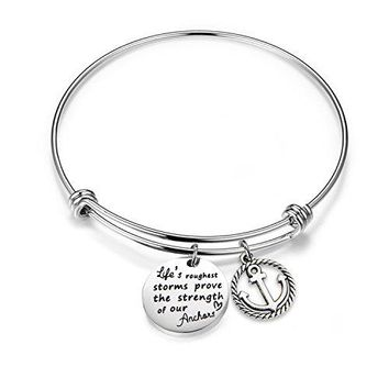 bobauna Lifes Roughest Storms Prove the Strength of Our Anchors Inspirational Quote Adjustable Wire Bangle Bracelet