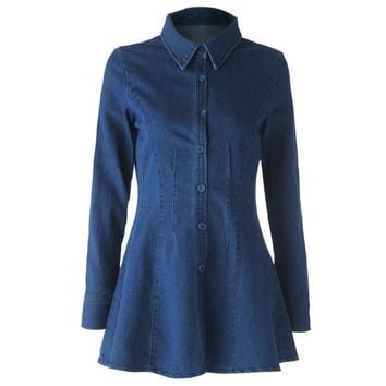 Casual Turn-Down Collar Solid Color Long Sleeve Women's Denim Dress