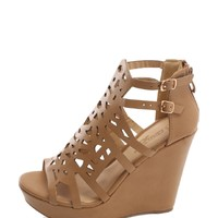 NUDE Faux Leather Cutout Wedges | $11.50 | Cheap Trendy Wedges Chic Discount Fashion for Women | Mod