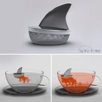 "Shark Fin ""Sharky"" Stainless Steel Loose Tea Infuser, Gift Boxed, 1 3/4 Inch X 2 Inches"