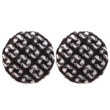 Clothes Button Design Women Fashion Round Earrings Female Lady Jewelry Christmas Earrings For Mother & Wife Gift For Girlfriend