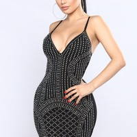 VIP Table Rhinestone Dress - Black