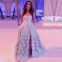 Honey Qiao Side Slit Light Blue Lace Prom Dresses 2016 A Line Strapless Beaded White Appliques Cheap Sweep Train Evening Gowns