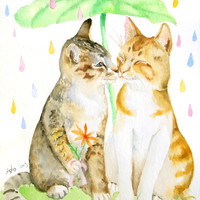Original Cat Watercolor 8x10 kissing in the rain