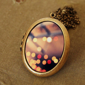 Dazzling - Dreamy Bokeh Lights - Grande Photo Locket Necklace