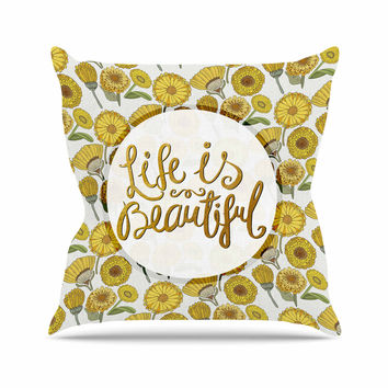 "Pom Graphic Design ""Life Is Beautiful"" Yellow Gold Typography Illustration Outdoor Throw Pillow"