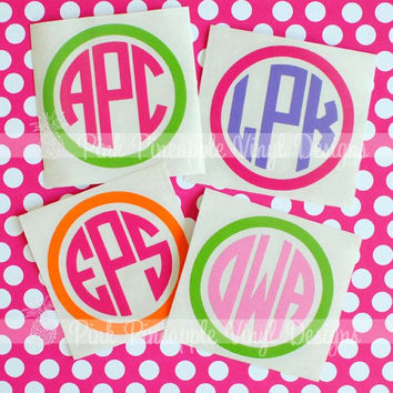 One 3 inch Two Color Custom Monogram Decal by eas423 on Etsy