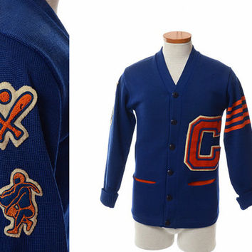 vintage 50s 60s wool varsity letterman sweater 1960s camelback high school phoenix az wool knit cardigan