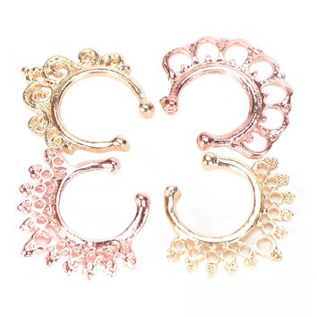 12Pcs/Pack Fake Nose Ring No Piercing clicker faux clip non pierced Small Hoop ring Crystal septum Women Body Jewelry