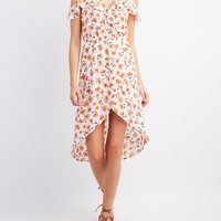 Floral Ruffle-Trim Cold Shoulder Wrap Dress
