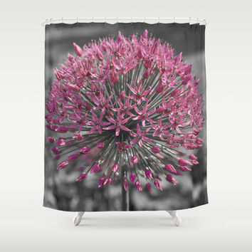 Pink Flower Shower Curtain by Cinema4design