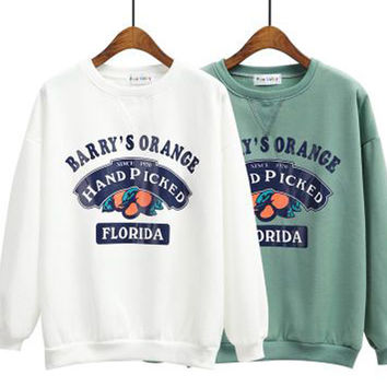 Barry's Orange Print Loose Coat Sweatshirt