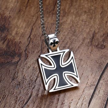 Stainless Steel Silver Vintage Knights Templar Iron Cross Pendant Necklace