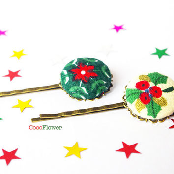 Christmas Holly hair pins - Ugly Sweater Party Hair accessories for women - red green hair piece - Winter bobby pins