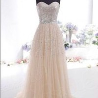 Champagne Tulle Sequin Formal Dress Ball Evening Pageant Wedding Dress Gown 6-16