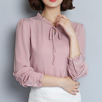 Spring Autumn Shirt Women 2018 Woman Chiffon Blouse Long Sleeve Ruffle Collar Fashion Tops Women's Clothing Plus Size XXXL