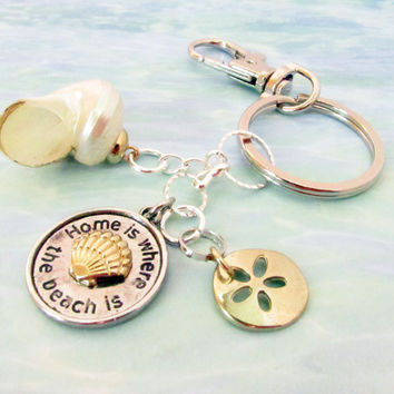 Sand Dollar Keychain with Quote and Seashell