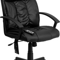 High Back Massaging Black Leather Executive Office Chair