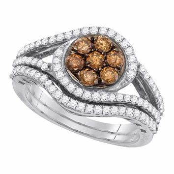 10kt White Gold Women's Round Cognac-brown Color Enhanced Diamond Cluster Bridal Wedding Engagement Ring Band Set 1.00 Cttw - FREE Shipping (US/CAN)