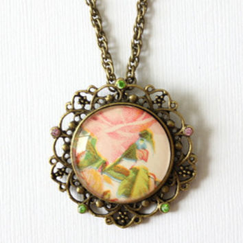 Victorian calling card jewelry.  Necklace made with romantic victorian fan motif and words.