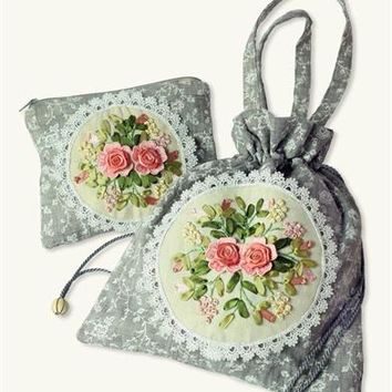 Embroidered Bag & Cosmetic Bag Set - Embroidered Travel Pouch, Jewelry Pouch