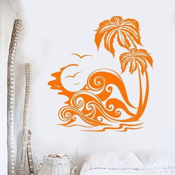 Vinyl Wall Decal Island Palm Beach Style Sunset Holidays Tree Stickers Unique Gift (704ig)