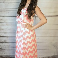 Chevron Maxi Dress - coral/white