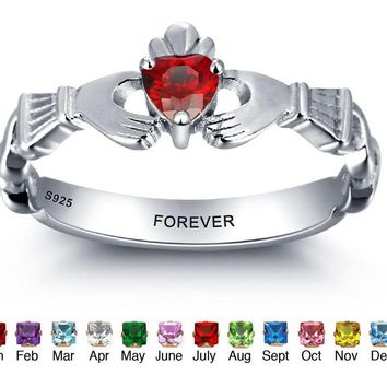 Personalized Engrave Name Birthstone Jewelry Claddagh 925 Sterling Silver Rings For Women Free Gift Box Rings
