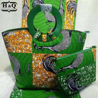 6 Yards High quality african super wax with fashion hand bag  african wax prints fabric  dutch wax fabric for sewing