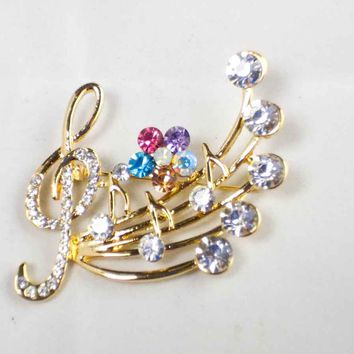 Crystal Musical Note Brooch