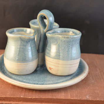 Handmade Ceramic Set of 3 Pitchers and Tray - For Serving Salad Dressings, or Syrups - Antique Blue and Ivory
