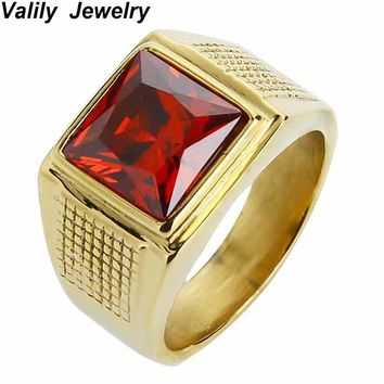 Valily Jewelry Men's Stones Ring Simple Red Cubic Zirconia Finger Band Rings Stainless steel wedding Band ring For Women Male