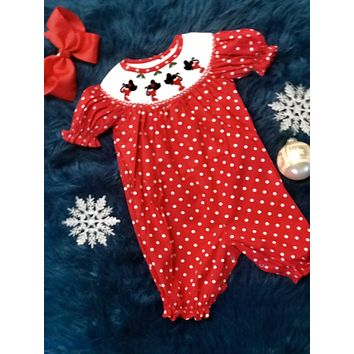 2018 Christmas Polka Dot Minnie Mouse Infant Romper