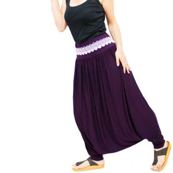 SALE / Harem sweat pants purple with cuffs for women, Different yoga pants, Harem Pants, Lace Belt, yoga pants, Maternity cuffed sweatpants