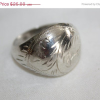 Sterling Domed Etched Ring Band 1960s Jewelry