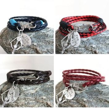 Fashion Jewelry THE WALKING DEAD PU Leather Charm Friendship Bracelets & Bangles DARYL DIXON Crossbow cowboys Men Jewelry gifts