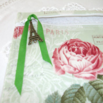 Cosmetic Bag Zipper Pouch Eiffel Tower Paris Rose Pink Mint