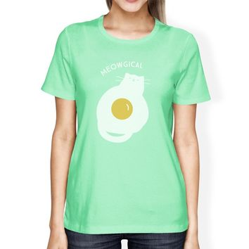 Meowgical Cat And Fried Egg Womens Mint Shirt