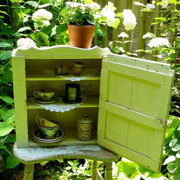 Antique Wooden Medicine Cabinet - White Painted Primitive Cupboard - with Mirror - Handmade Chippy Kitchen Spice Rack - Rustic Decor